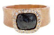 Todd Reed Black Diamond Solitaire on Wide Band - Rose Gold