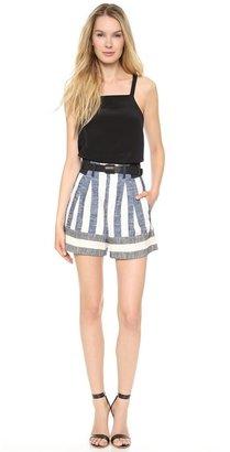 Tibi Blanket Striped Shorts