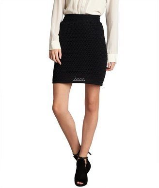RED Valentino black crochet knit cotton skirt