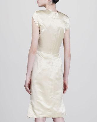 Zac Posen Sateen V-Neck Dress