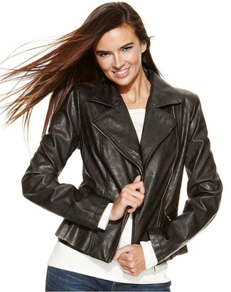 INC International Concepts Faux-Leather Peplum Moto Jacket