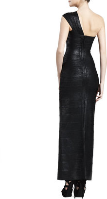 Herve Leger One-Shoulder Bandage Gown