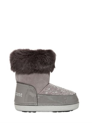Suede Snow Boots With Rabbit Fur