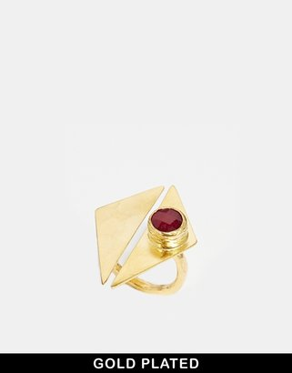 Ottoman Hands Seperation Semi Precious Ruby Split Triangle Ring