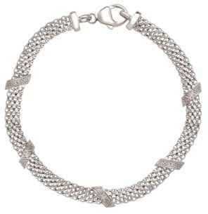 Lord & Taylor Sterling Silver Cage Bracelet with Diamonds