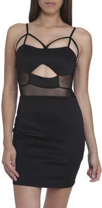 Arden B Strappy Cutout Mesh Dress