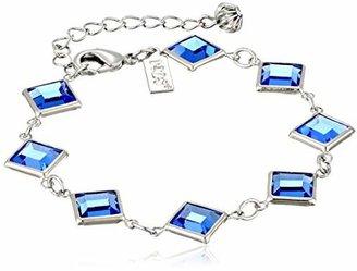 1928 Jewelry Silver-Tone Blue Genuine Swarovski Crystal Adjustable Link Bracelet