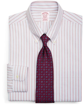 Brooks Brothers Supima® Cotton Non-Iron Traditional Fit Button-Down Broadcloth Split Stripe Dress Shirt