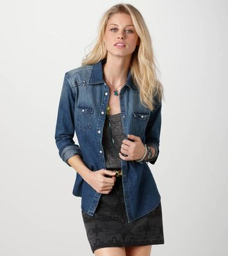 American Eagle AE Studded Denim Western Shirt