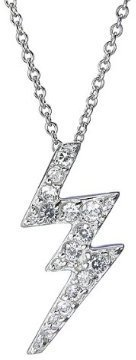 Pave Cubic Zirconia Lightening Bolt Pendant with Sterling Silver Chain
