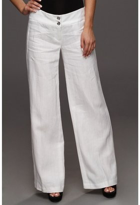 MICHAEL Michael Kors Washed Linen Wide Leg Pant (White) - Apparel