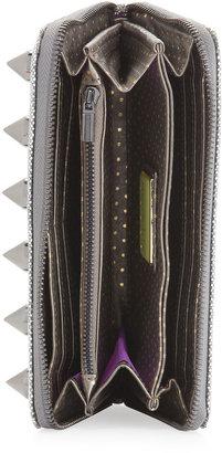 Deux Lux Spiked Glitter Wallet, Gunmetal
