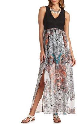 Charlotte Russe Double Slit Paisley Print Maxi Dress