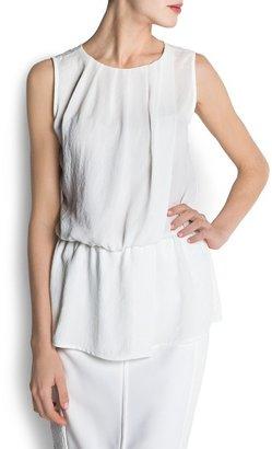 MANGO Pleated sheer blouse
