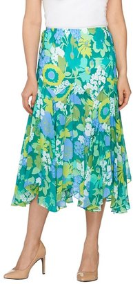 Bob Mackie Fully Lined Floral Print Skirt