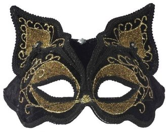 Forum Fancy Cat Style Venetian 1/2 Mask