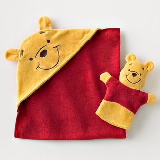 Winnie The Pooh Bath Mitt & Hooded Towel Set