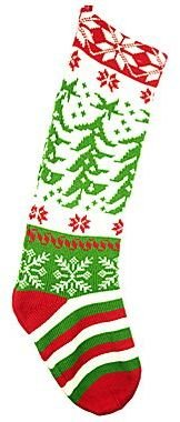 JCPenney Christmas Stocking with Tree and Snowflake