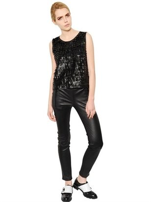 Karl Lagerfeld Fringed Leather & Viscose Jersey Top