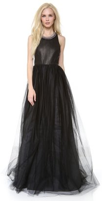 Alice + Olivia Carter Leather Bustier Gown