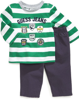 GUESS Set, Baby Boys Newborn 2-Piece Long-Sleeved Shirt and Pull-On Pants