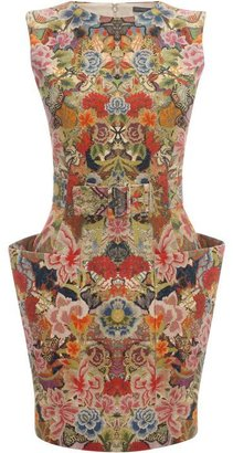 Alexander McQueen Patchwork Floral Belted Mini Dress