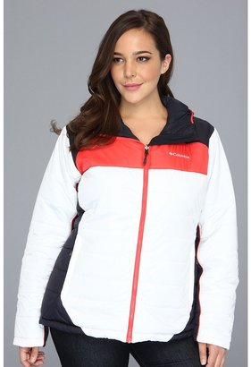 Columbia Plus Size Shimmer Flash Jacket (White/Red Hibiscus) - Apparel