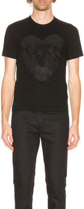 Comme des Garcons Printed Heart Cotton Tee in Black | FWRD