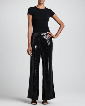 Neiman Marcus Sequined Wide-Leg Pants