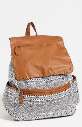 Lulu Faux Leather Flap Print Backpack (Juniors)