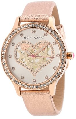 Betsey Johnson BJ00157-26 Analog Heart Graphic Dial Watch (Rose Gold) - Jewelry