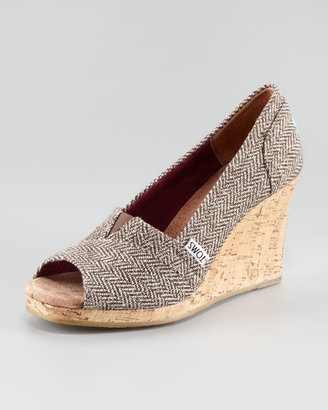 Toms Metallic Herringbone Wedge