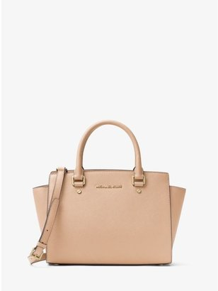 Selma Saffiano Leather Medium Satchel $298 thestylecure.com