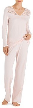 Hanro Moments Lace Trim Cotton Long Sleeve Pajama Set