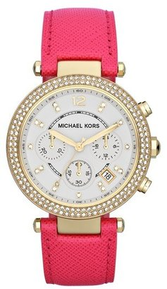 MICHAEL Michael Kors Michael Kors 'Parker' Chronograph Leather Watch, 39mm