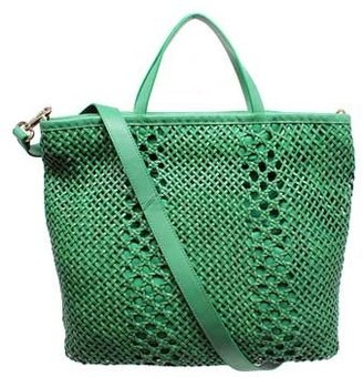 """Christopher Kon PL01504"""" Mint Green Woven Tote with Zipper"""