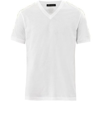 Versace Studded V-neck T-shirt