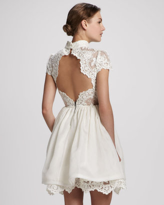 Alice + Olivia Fyona Lace-Bodice Party Dress