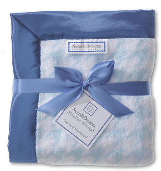 Swaddle Designs Stroller Blanket - Pastel Blue Puppytooth