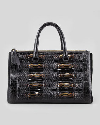 Nancy Gonzalez Crocodile, Python, & Calf Hair Tote Bag, Black