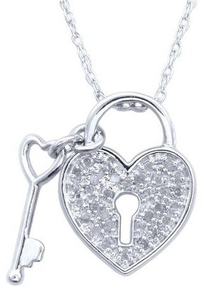 0.15 CT.T.W. Diamond Lock and Key Pendant in Sterling Silver