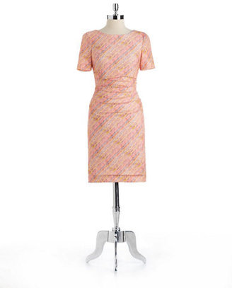 Kay Unger Striped Lace Dress