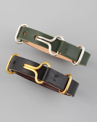Philip Crangi Giles & Brother by Leather Visor Bracelet, Black