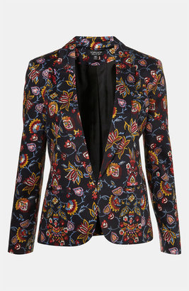 Topshop 'Tapestry' Floral Print Open Front Blazer