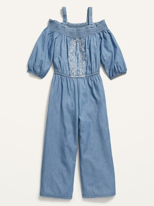 Old Navy Off-the-Shoulder Embroidered Chambray Jumpsuit for Girls