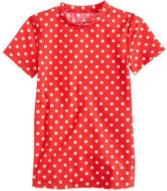 Girls' short-sleeve rash guard in classic dot