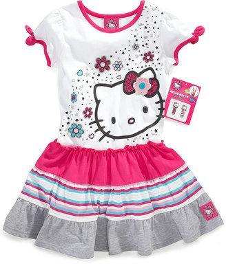 Hello Kitty Kids Dress, Little Girls Glitter Graphic Dress