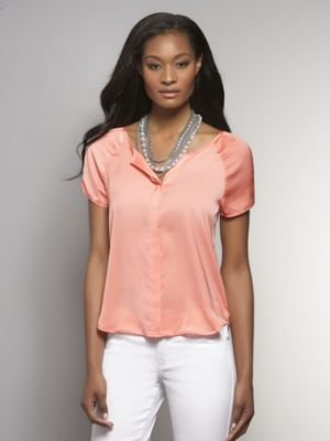 New York & Co. Silky Shirred-Shoulder Blouse