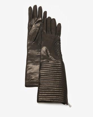 Portolano Ribbed High Cuff Leather Zipper Gloves
