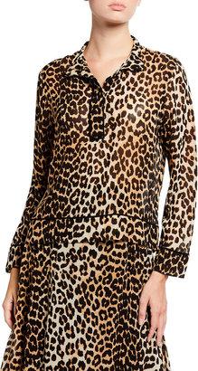 Ganni Leopard Printed Georgette Long-Sleeve Blouse